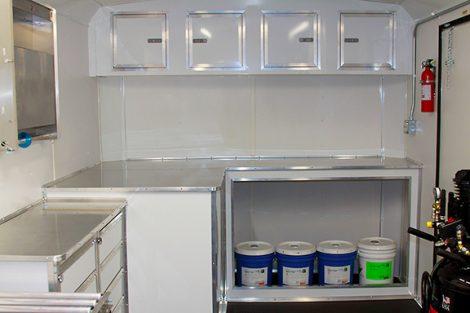 Resin cabinet storage on HammerHead LT20-Pro CIPP trailer